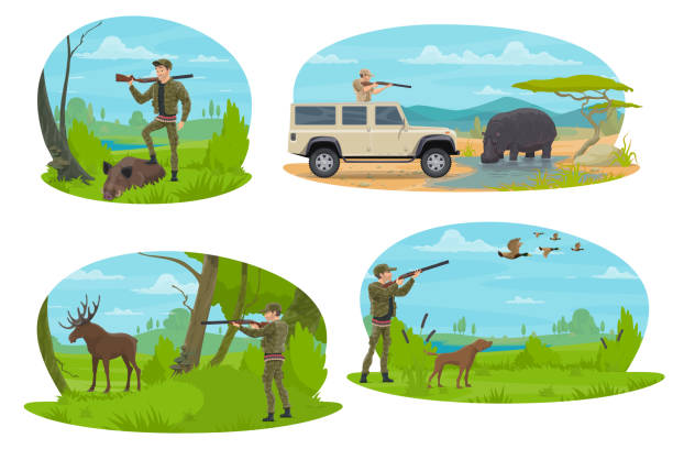 Hunter aiming rifle at animal cartoon icon design Hunting sport icon with hunter aiming rifle at forest and african safari animal. Huntsman with shotgun and dog hunting duck, elk, boar and hippo for hunter club symbol or hunting season opening design ducking stock illustrations