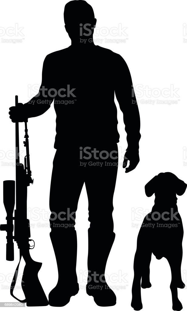 Cazador y Beagle - ilustración de arte vectorial