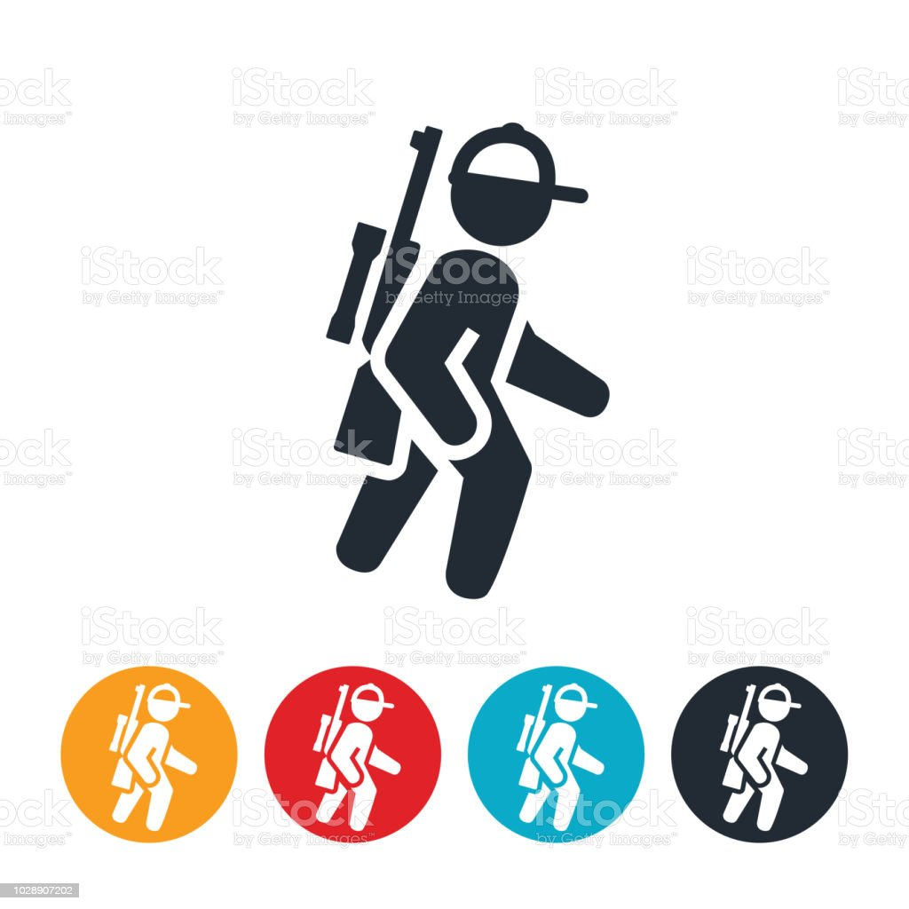 Hunter Carrying Rifle While Hunting Icon vector art illustration
