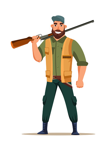 Hunter character with rifle isolated on white
