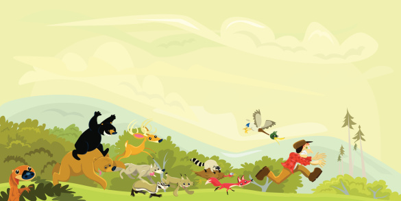 Hunter Chased by a Group of Animals