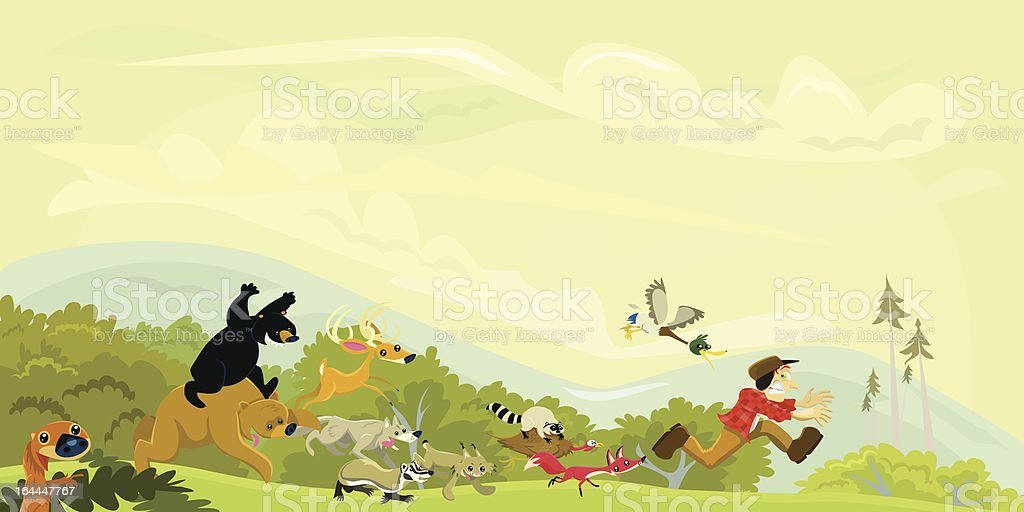 Hunter Chased by a Group of Animals vector art illustration