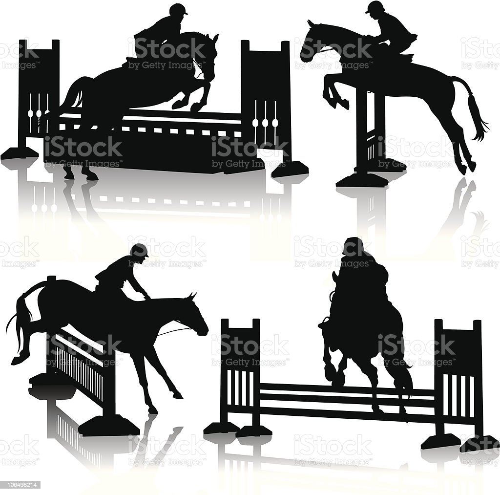 Hunter Jumper Horse Silhouettes Stock Illustration Download Image Now Istock
