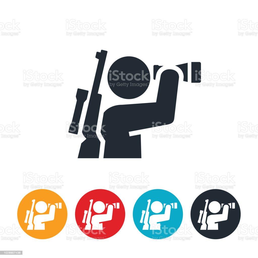 Hunter Looking Through Binoculars Icon vector art illustration