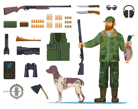 Hunter man with hunting equipment or items
