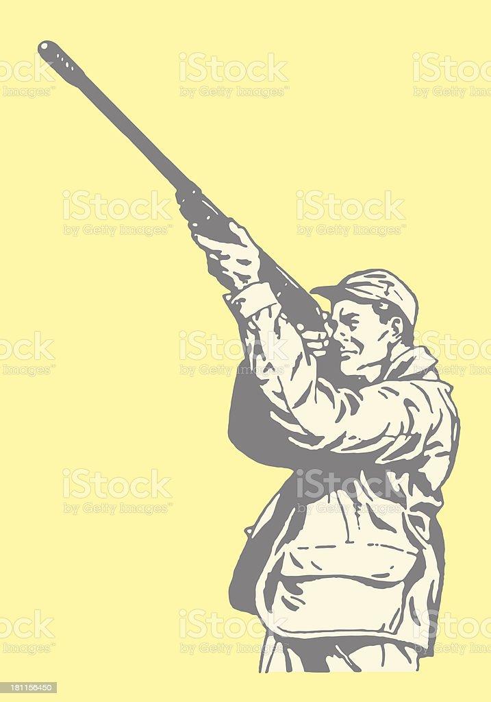 Hunter pointing gun in the air vector art illustration
