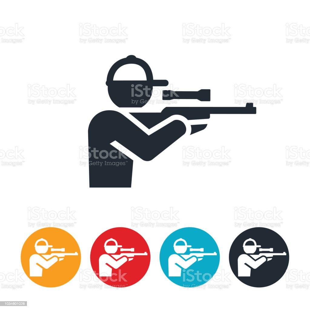 Hunter Shooting Rifle Icon vector art illustration