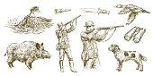 Hunter shoots a gun, duck hunting with dog. Hand drawn vector illustration.