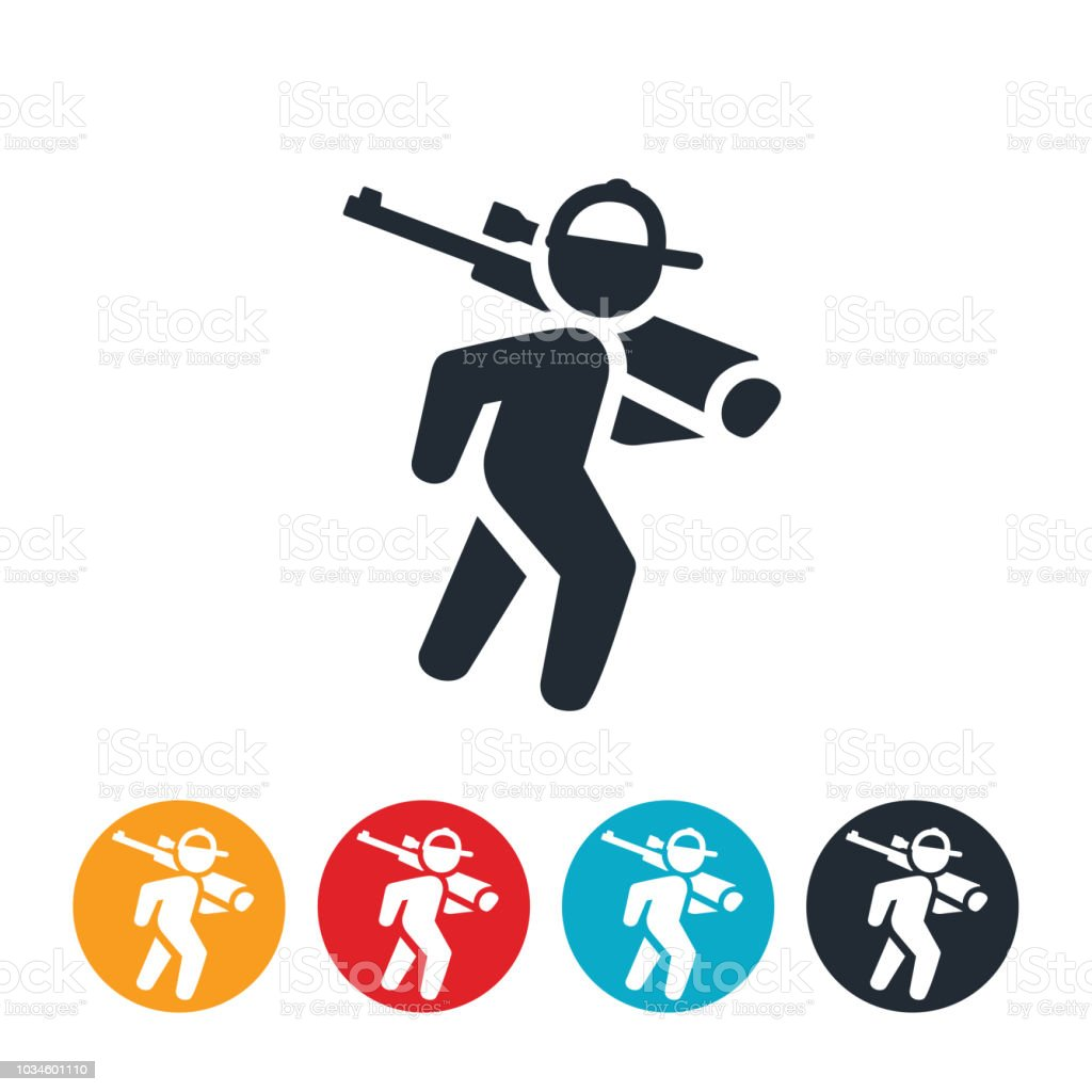 Hunter Walking With Rifle Icon vector art illustration