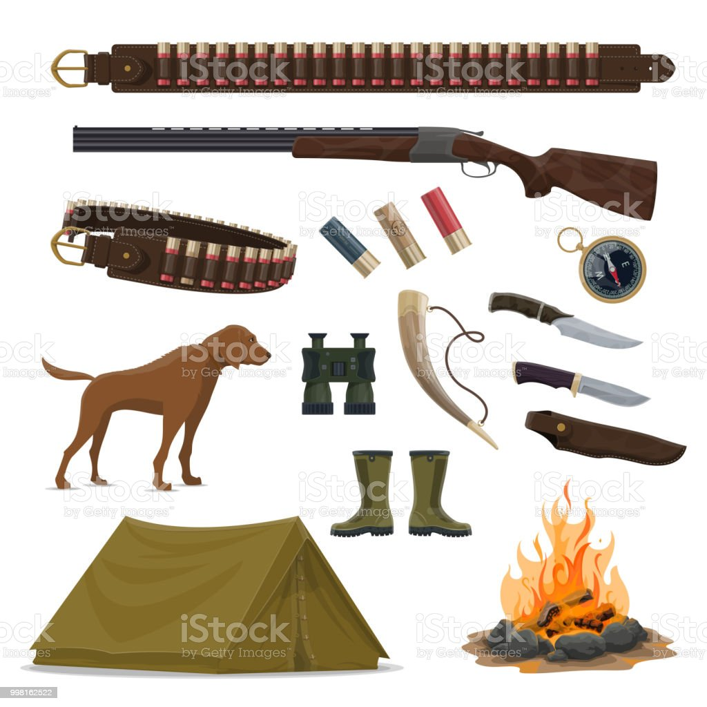 Hunter weapon and equipment icon of hunting design vector art illustration