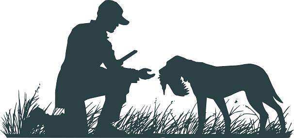 Hunter with Retriever