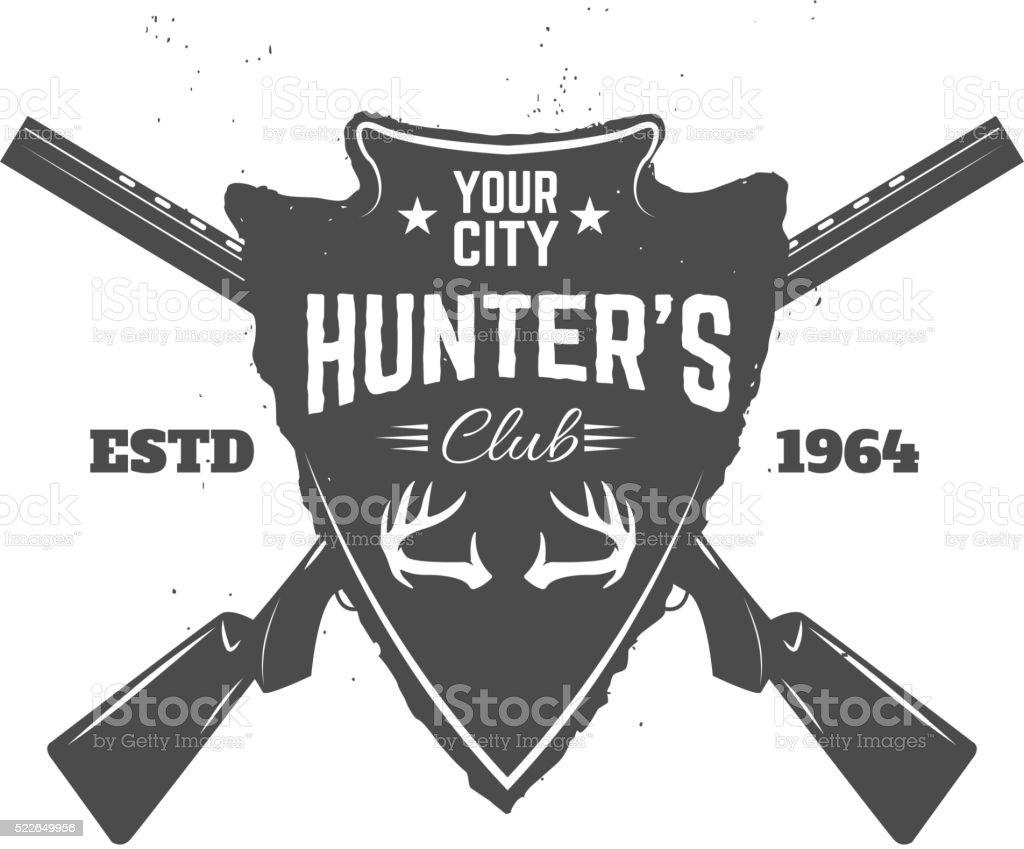 Hunter's club label template vector art illustration