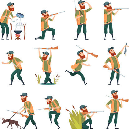 Hunters. Sniper outdoor human with weapons duck hunting in action poses vector characters