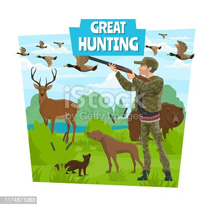 Hunt, opens season hunting club adventure. Hunter with rifle gun and dog in forest hunting wild animals bear, deer or ermine mink and ducks