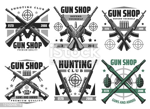 istock Hunting ammo and gun shop icons 1210049219