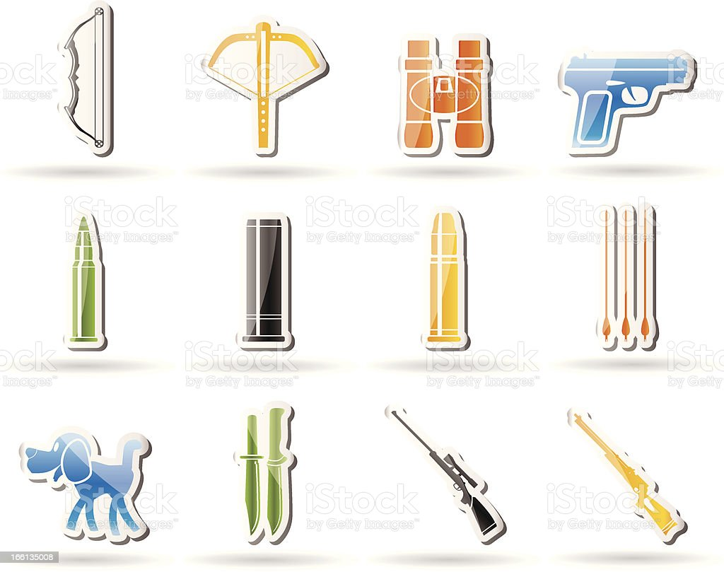 Hunting and arms Icons royalty-free stock vector art