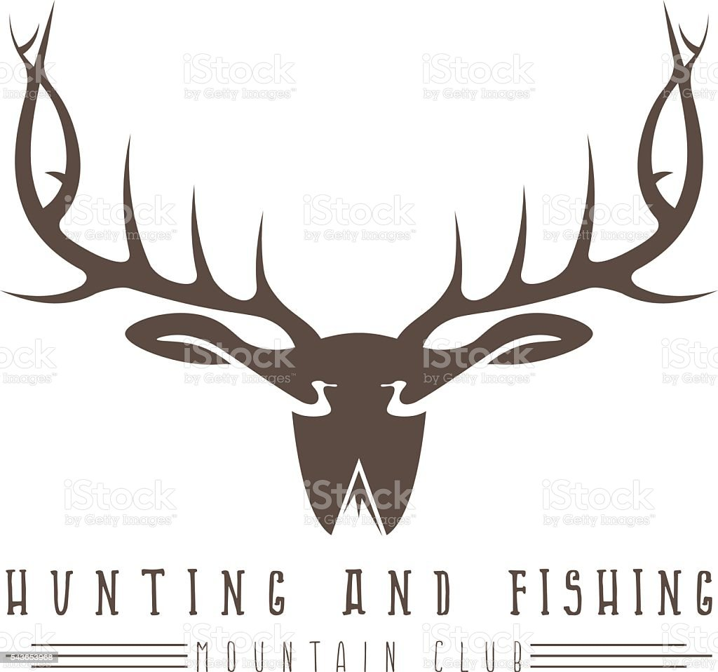 Hunting and fishing emblem with duck deer and fish stock for Deer duck fish