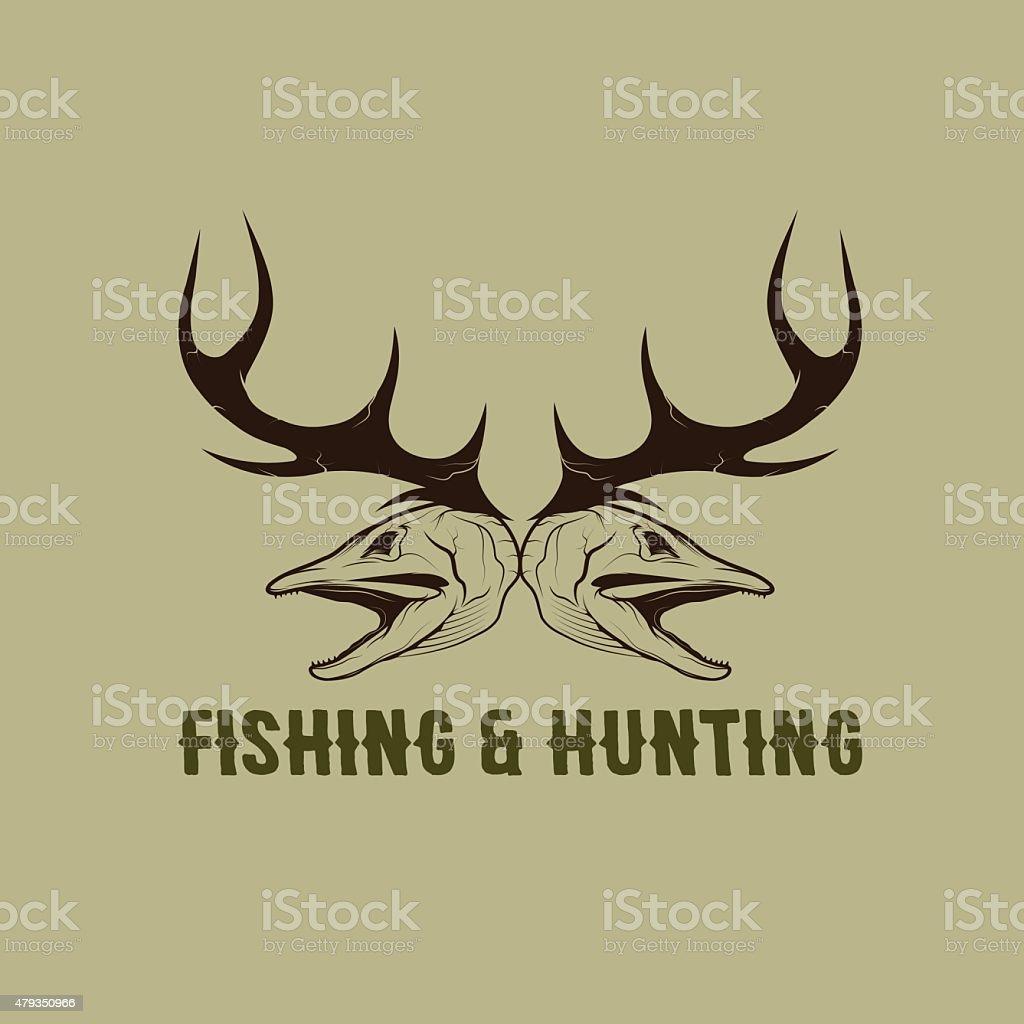De chass'et de pêche vintage modèle vector design template - Illustration vectorielle