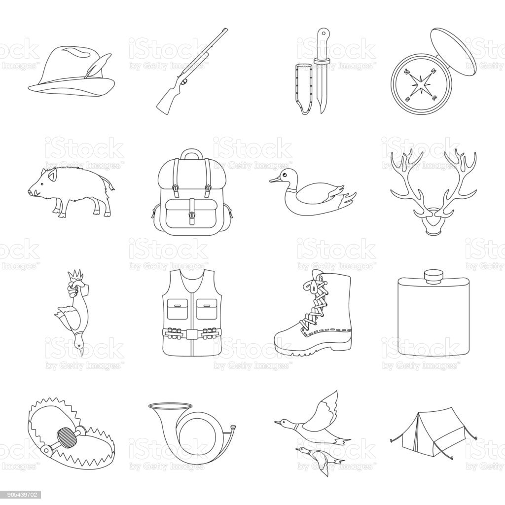 Hunting and trophy outline icons in set collection for design. Hunting and equipment vector symbol stock web illustration. hunting and trophy outline icons in set collection for design hunting and equipment vector symbol stock web illustration - stockowe grafiki wektorowe i więcej obrazów akcesorium osobiste royalty-free
