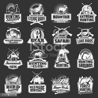 Hunting sport, safari and hunter club vector badges with wild animals, birds and huntsman guns. Bear, wolf and duck, african jaguar, buffalo and mountain sheep, rifle, shotgun, quail monochrome icons