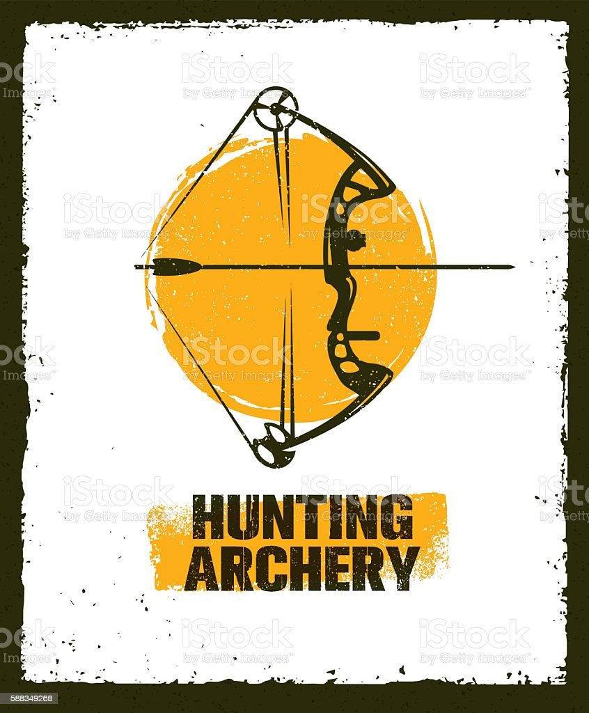 Hunting Archery Vector Rough Sign Concept vector art illustration