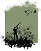 """Graphic silhouette illustrations of Duck and Pheasant Hunters. Check out my """"Flaming Sports Balls and More"""" light box."""