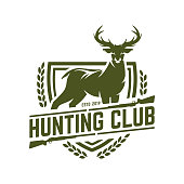 Hunting badge, hunt emblem for hunting club or sport, deer hunting stamp