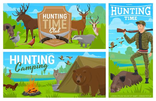 Hunting camping, club vector cartoon banners set