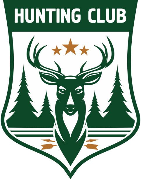 hunting club emblem entwurf mit deer kopf auf der vorderseite - kopfschüsse stock-grafiken, -clipart, -cartoons und -symbole