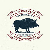 Hunting club badge. Eat, sleep, hunt. Vector illustration. Concept for shirt or label, print, stamp, badge, tee. Vintage typography design with boar silhouette. Outdoor adventure hunt club emblem
