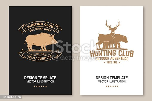 Hunting club badge. Eat, sleep, hunt. Vector illustration. Flyer, brochure, banner, poster design with deer, bear and forest silhouette. Outdoor adventure hunt club emblem