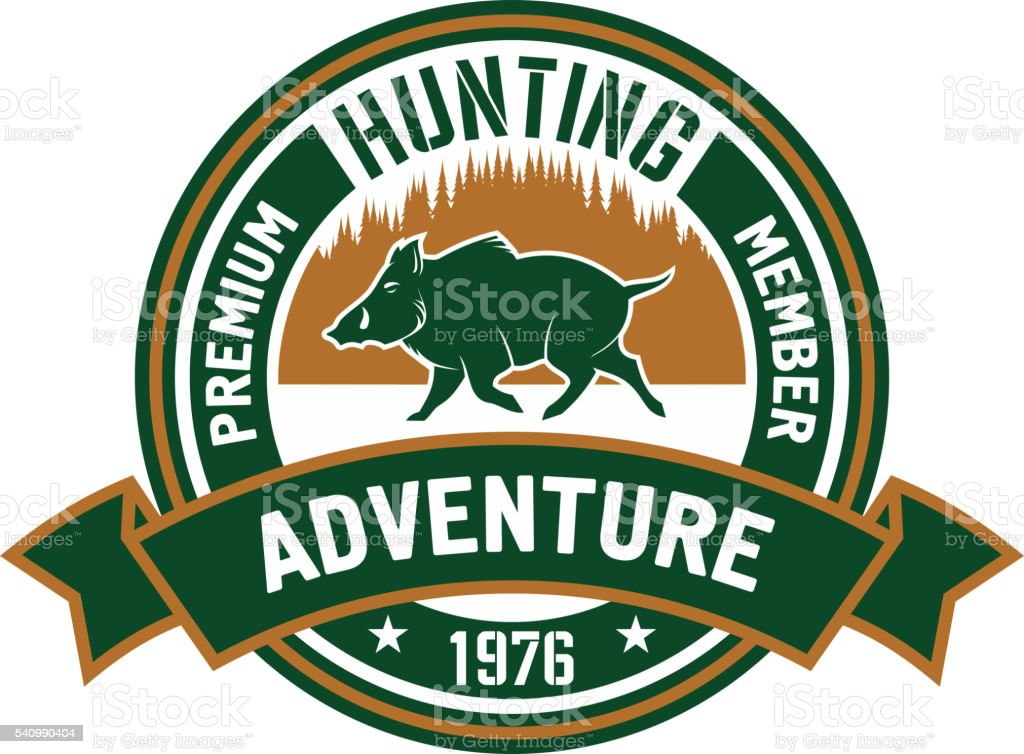 Hunting club badge with wild boar and forest vector art illustration