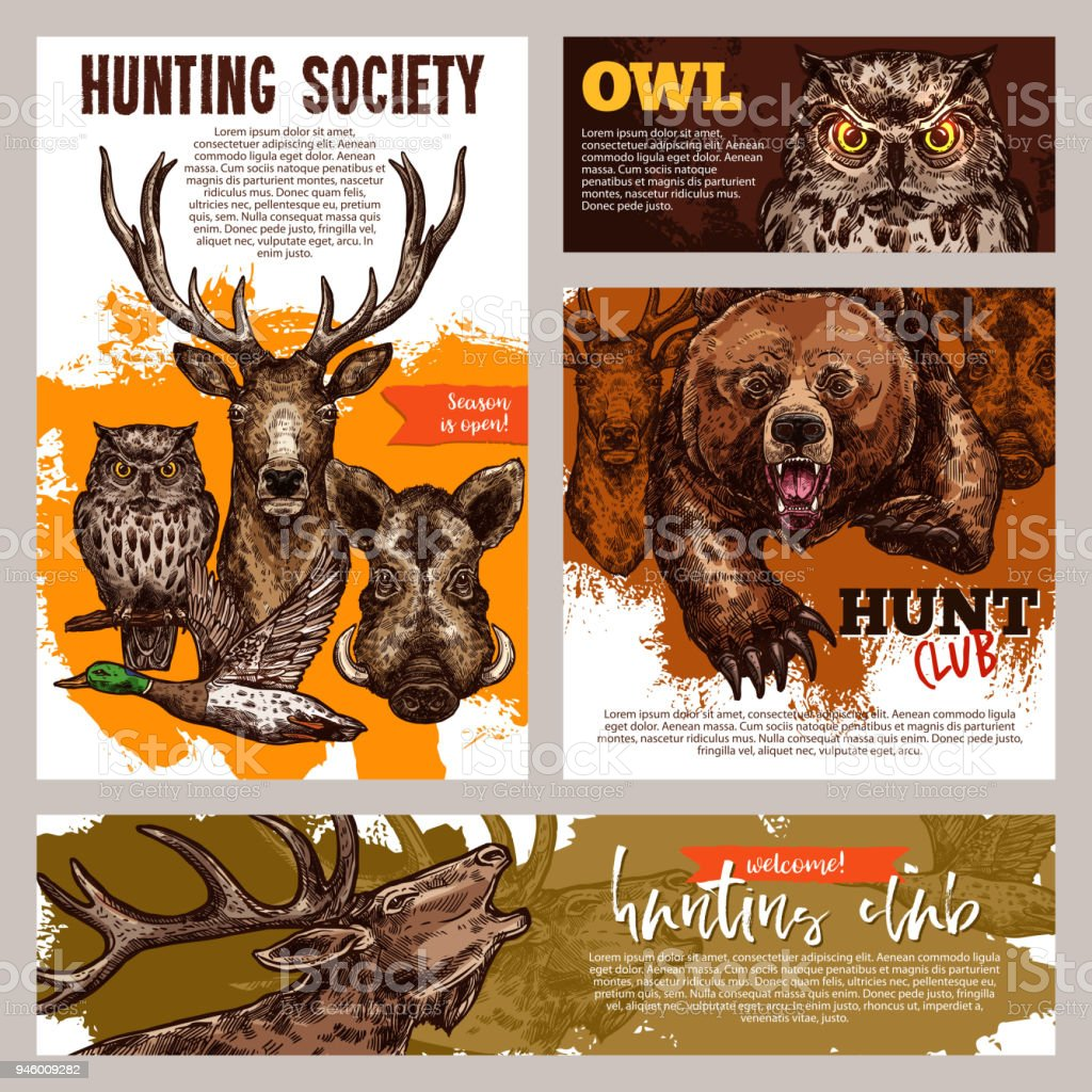 Hunting Club Banner With Deer Duck Bear And Boar Stock