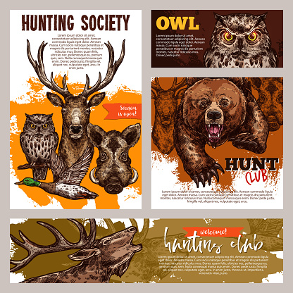 Hunting club banner with deer, duck, bear and boar