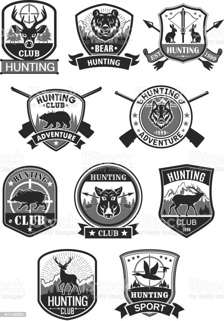 Hunting club hunt adventure vector icons set vector art illustration
