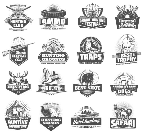 Hunting club icons. Vector animals and ammunition Hunting club symbols and wild animals icons, hunter open season adventure. Vector ammo rifle fun or knife and binoculars with trap, duck, elk or deer antlers and african safari zebra or lion duck bird stock illustrations