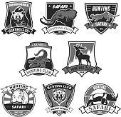 Hunting club safari hunt open season vector icons
