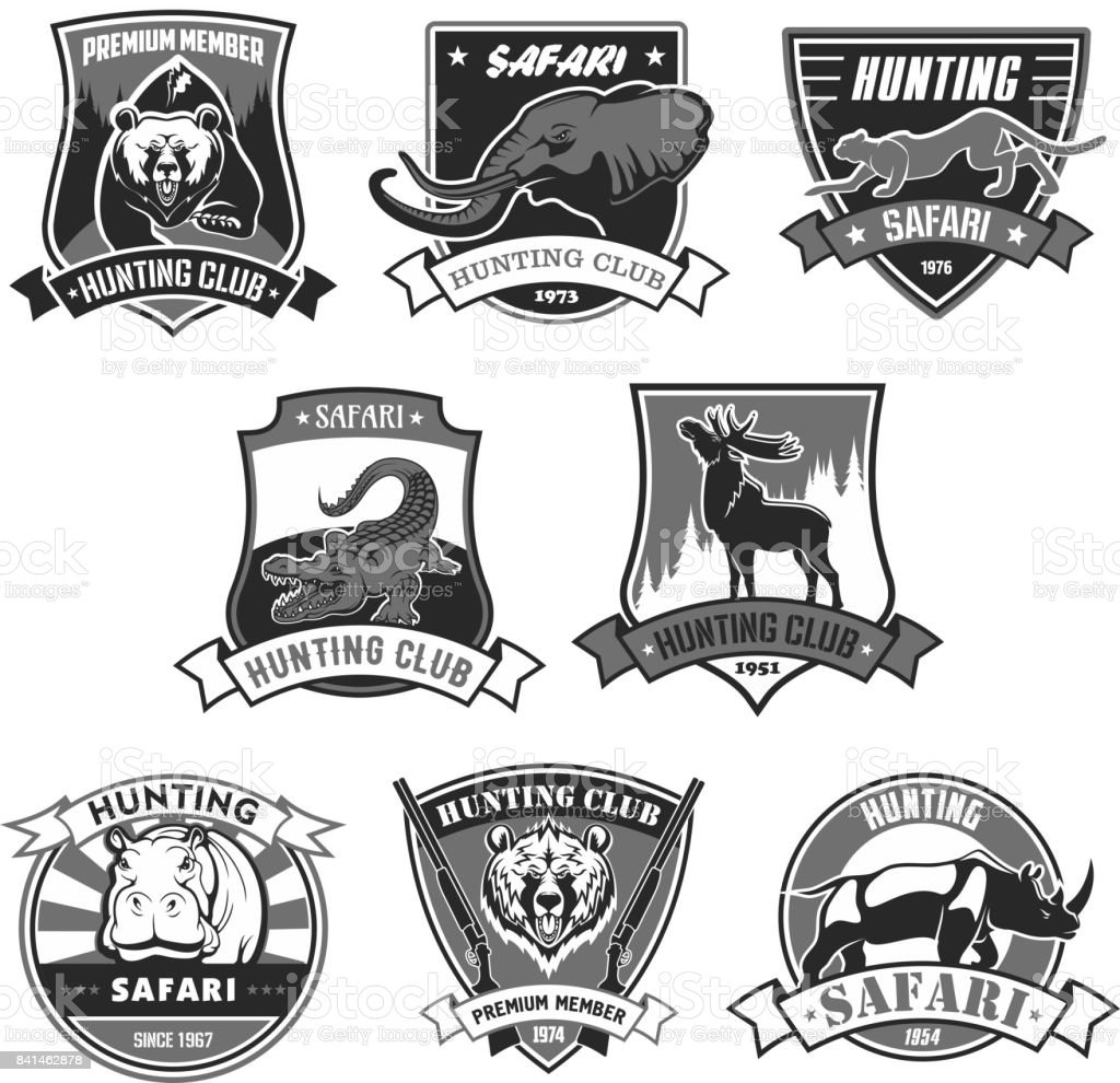 Hunting club safari hunt open season vector icons vector art illustration