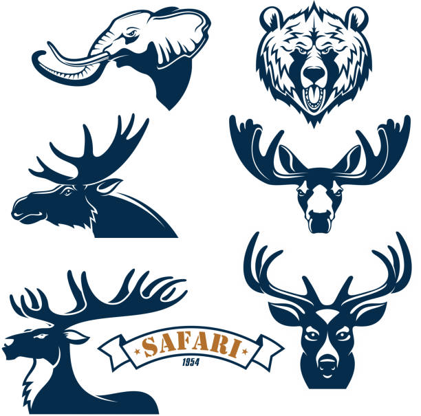 hunting club vector icons set of animals - moose stock illustrations