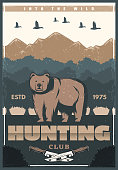 Hunting club retro poster of bear and nature for hunter society or open season. Vector vintage design of wild bear and duck birds in mountains with hunter knife for hunt adventure
