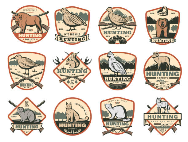 Hunting club, wild animals and ammo icons Hunter club or hunting society badges with wild animals and hunt ammo guns and traps. Vector African Safari buffalo, grouse or woodcock bird, wolf and fox or lynx and bear for open season adventure ermine stock illustrations