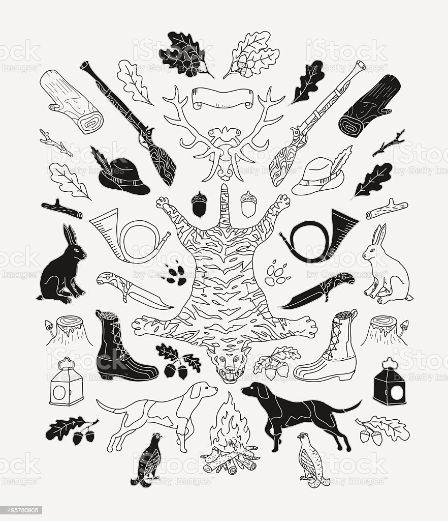 Hunting. Doodle. royalty-free hunting doodle stock vector art & more images of accuracy