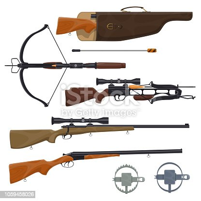 istock Hunting equipment and gun, vector 1059458026