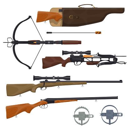 Hunting equipment and gun, vector