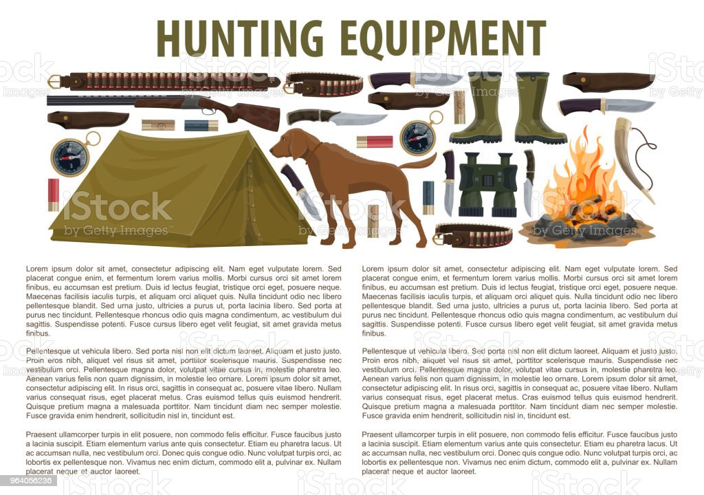Hunting equipment vector template - Royalty-free Ammunition stock vector