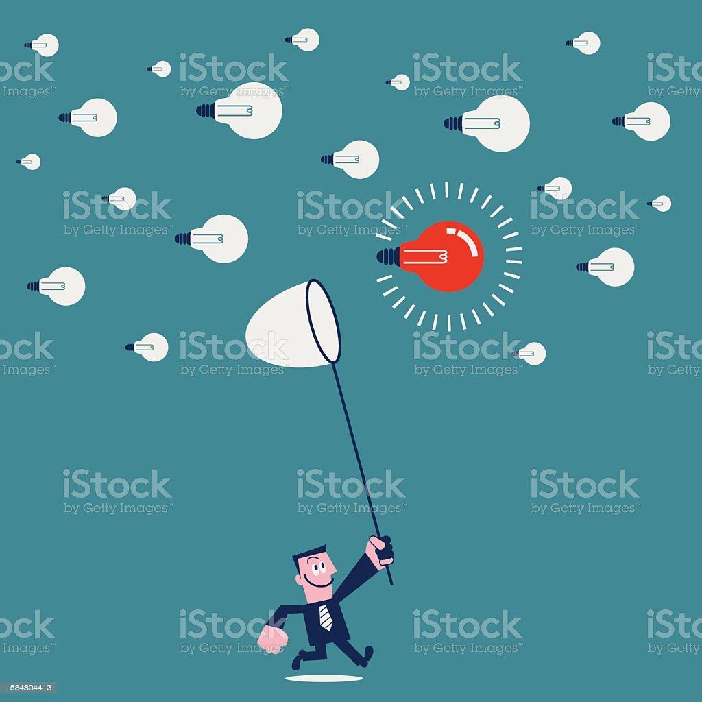 Hunting for a good idea vector art illustration
