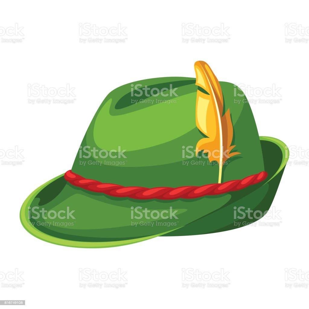 Sombrero de caza con plumas y cuerda. Ilustración para la Oktoberfest - ilustración de arte vectorial