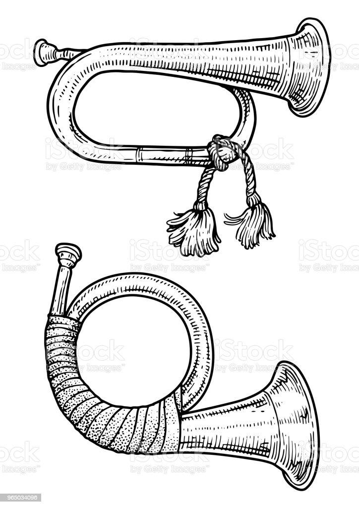 Hunting horn illustration, drawing, engraving, ink, line art, vector vector art illustration