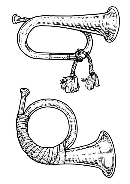 hunting horn illustration, drawing, engraving, ink, line art, vector - waltornista stock illustrations