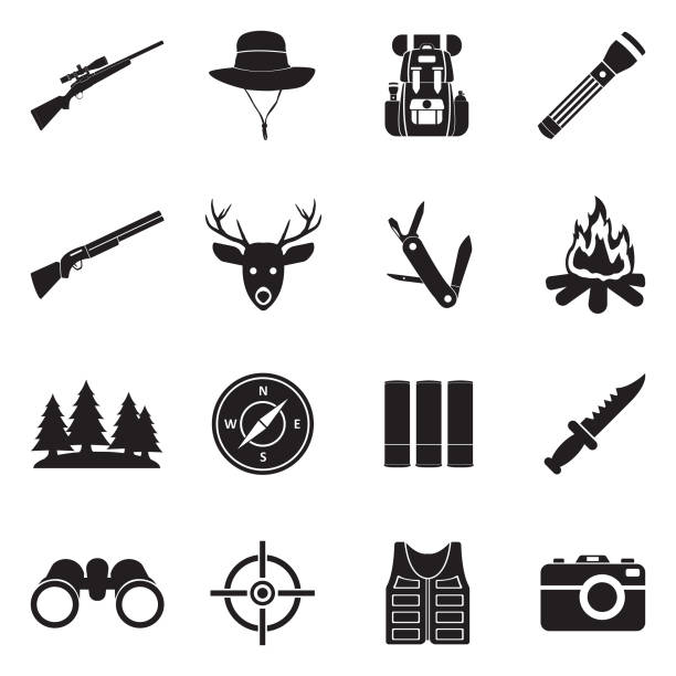 jagd-symbole. schwarze flache bauweise. vektor-illustration. - kopfschüsse stock-grafiken, -clipart, -cartoons und -symbole
